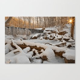 Winter Sunset Waterfall Canvas Print