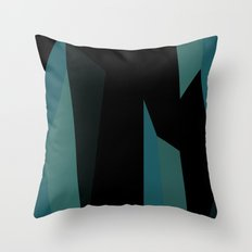 teal and black abstract Throw Pillow