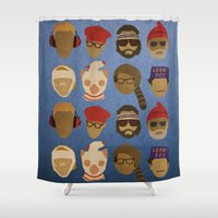 wes anderson Shower Curtains featuring Wes Anderson Hats by godzillagirl