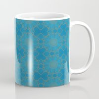 coasters Mugs featuring Gold Lace on Blue by Lena Photo Art
