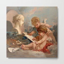 """François Boucher """"Cupids. Allegory of Painting"""" Metal Print"""