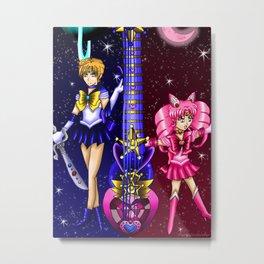 Fusion Sailor Moon Guitar #43 - Sailor Uranus & Sailor Chibi Moon Metal Print