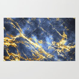 Ornate, Classic Gold and Sapphire Marble Rug