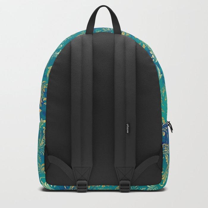 Blue Gold Swirls Backpack
