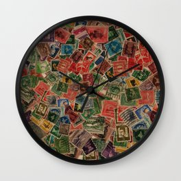 Vintage Postage Stamps Collection Wall Clock