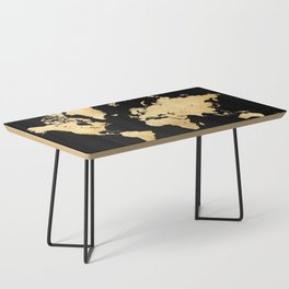 Sleek black and gold world map Coffee Table