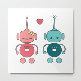 cute cartoon robots in love Metal Print