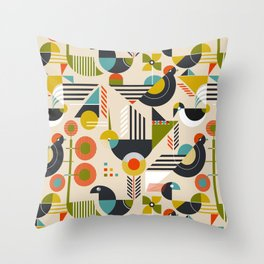 Bauhaus style birds Throw Pillow
