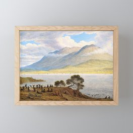 Mount Wellington And Hobart Town From Kangaroo Point - John Glover Framed Mini Art Print