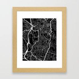 Street MAP Jerusalem // Black&White Framed Art Print