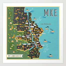 Mapping  Milwaukee Art Print