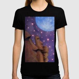 Moai & Moon in Universe T-shirt