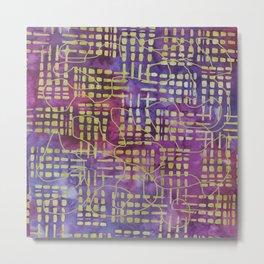 Tie Dye Purple, Fuchsia and Avocado Green Abstract   Saletta Home Decor Metal Print