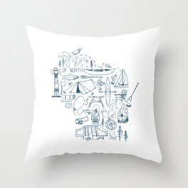 Wisconsin Up North Collage Throw Pillow