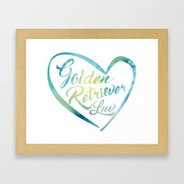 Golden Retriever Luv with Heart in watercolor Framed Art Print