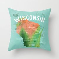 wisconsin Throw Pillows featuring Wisconsin Map by Stephanie Marie Steinhauer