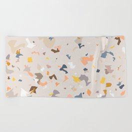 Lively Colorful Terrazzo Pattern Beach Towel