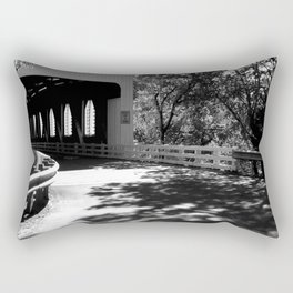 Covered Bridge in Black and White Rectangular Pillow