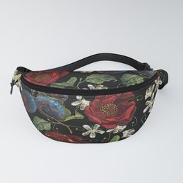 Embroidery plums red roses and white cherry flowers seamless pattern Fanny Pack