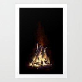 Bonfire at Night Art Print