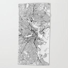 Boston White Map Beach Towel