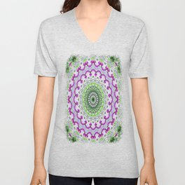 Purple Wildflower Kaleidoscope Art 4 Unisex V-Neck