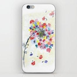 Dandelion watercolor illustration, rainbow colors, summer, free, painting iPhone Skin