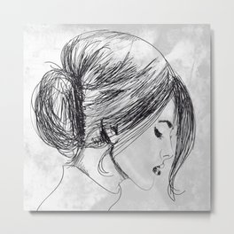 Hand drawn beautiful woman Metal Print