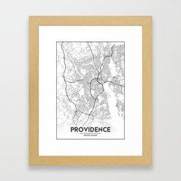 Minimal City Maps - Map Of Providence, Rhode Island, United States Framed Art Print