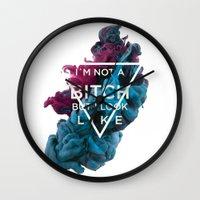 bitch Wall Clocks featuring Bitch by daniel berea