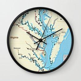 Captain John Smith Chesapeake National Historic Trail Map (2007) Virginia & Maryland Bay Exploration Wall Clock