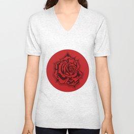 Red Rose Round Unisex V-Neck