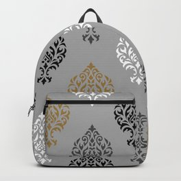 Orna Damask Ptn BW Grays Gold Backpack