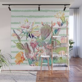 Watercolor cactus, floral and stripes design Wall Mural