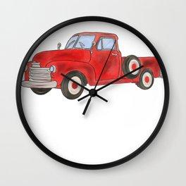 Vintage Trucks Red Pickup Truck Wall Clock