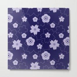 Sakura blossom - midnight blue Metal Print