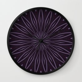 Artisitic Floral Kaleidoscope Pattern Purple Shades Wall Clock