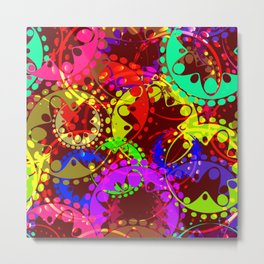 Texture of bright colorful gears and laurel wreaths in kaleidoscope style on a dark red background. Metal Print