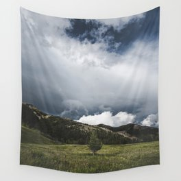 Landsape Waterton Meadow and Rolling Hills | Nature | Skyscape Clouds Wall Tapestry