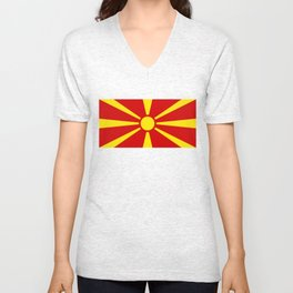 Macedonian national flag Unisex V-Neck