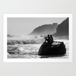 Block Island in Black and White (Couple at Mohegan Bluffs) Art Print