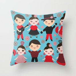 Seamless pattern spanish flamenco dancer. Kawaii cute face with pink cheeks and winking eyes. Throw Pillow