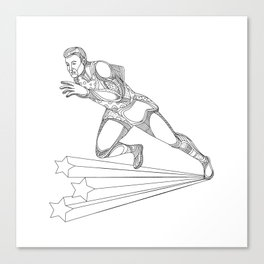 Track and Field Athlete Running Doodle Art Canvas Print