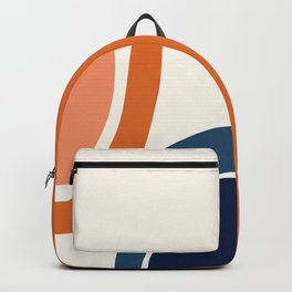 Abstract Shapes 34 in Burnt Orange and Navy Blue Backpack