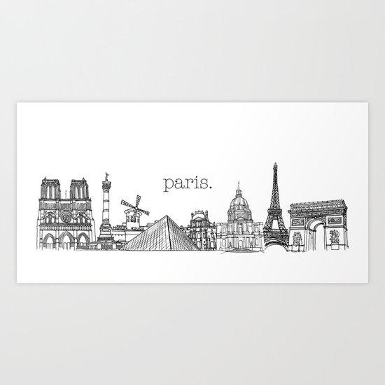Paris Landmarks by the Downtown Doodler Art Print