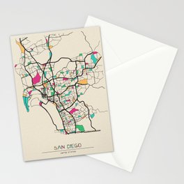 Colorful City Maps: San Diego, California Stationery Cards