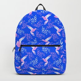 Pretty beautiful cute pink hummingbirds, delicate twigs little leaves blue pattern. Gift ideas Backpack