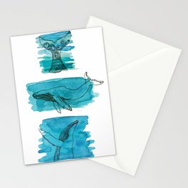 Three whales Stationery Cards