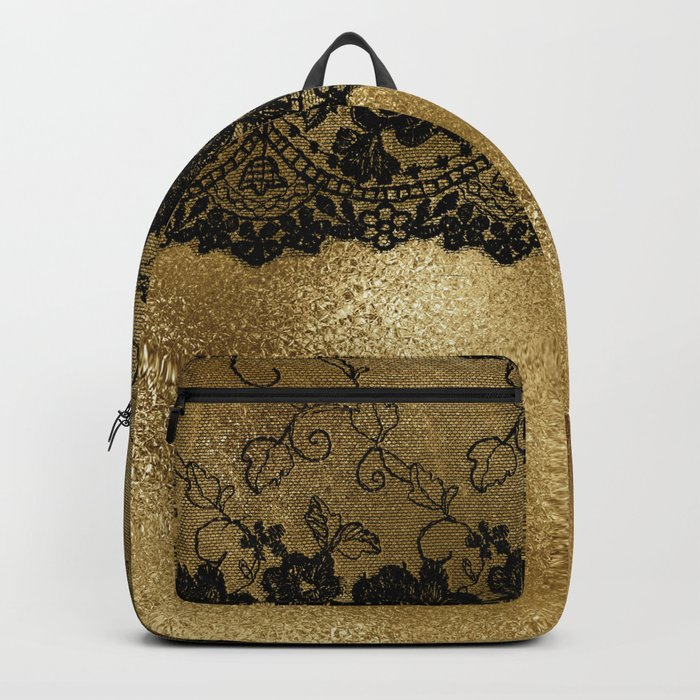 Black luxury lace on gold glitter effect metal- Elegant design on #Society6 Backpack