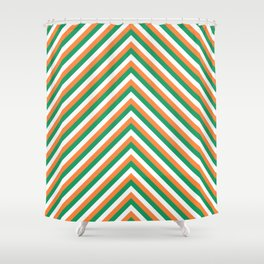 Orange White and Green Irish Chevron Stripe Shower Curtain